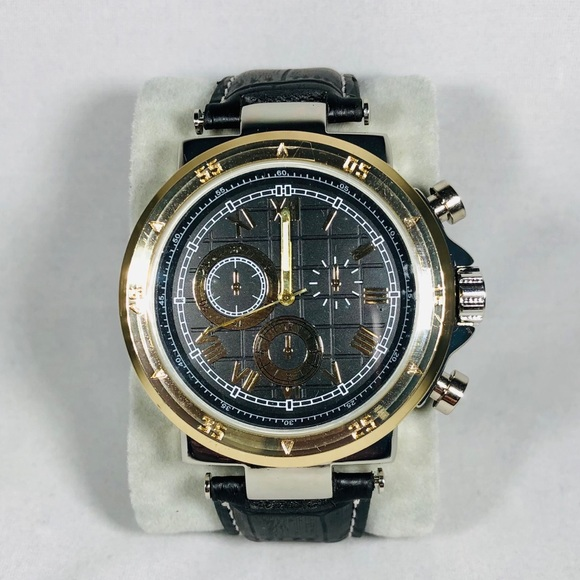 Men's Casual Analog Watch Faux Leather Black/Gold
